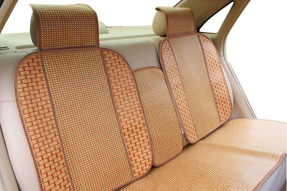 Amooca Papyrus Bamboo Spill-Proof Front Rear Car Seat Cushion Cover For Summer Picture