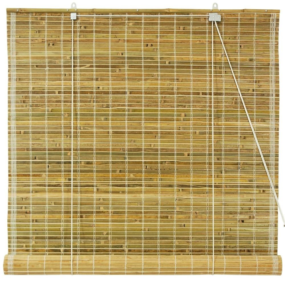 Oriental Furniture Burnt Bamboo Roll Up Blinds Picture